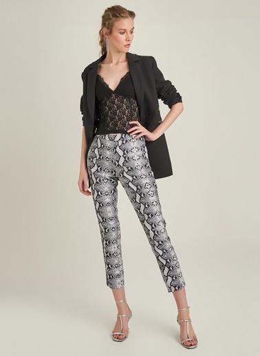 Monamoda Yılan Desenli Pantolon Siyah
